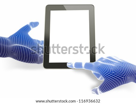 3d wireframe Hand holding tablet pc with touching hand - stock photo