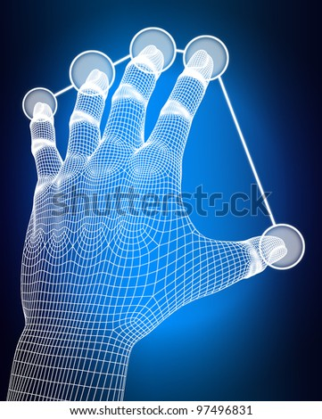 3d wireframe hand push button on blue background. - stock photo