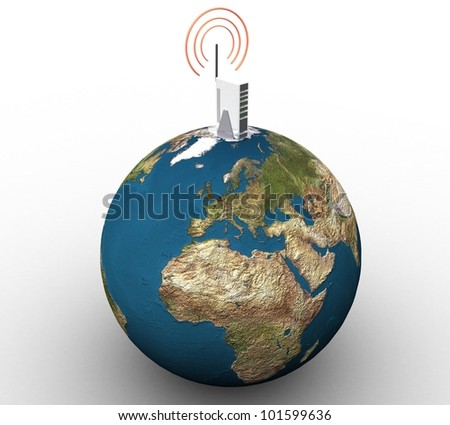 3d wireless internet and land on a white background isolated - stock photo