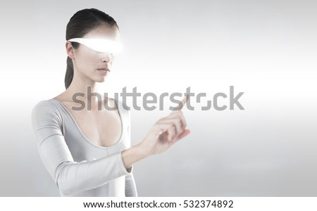 3D Woman pointing while using virtual video glasses against grey background