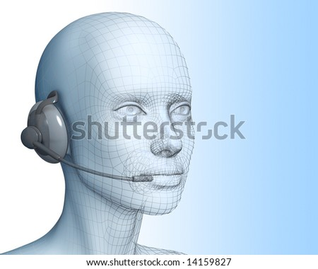 3D woman with headset - stock photo