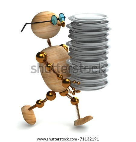 3d wood man is holding  dishes isolated on white - stock photo