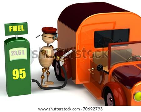 3d wood man with a petrol pump isolated on white - stock photo