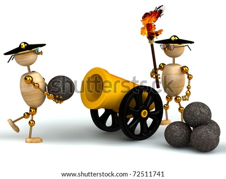 3d wood mans with a gold cannon isolated - stock photo