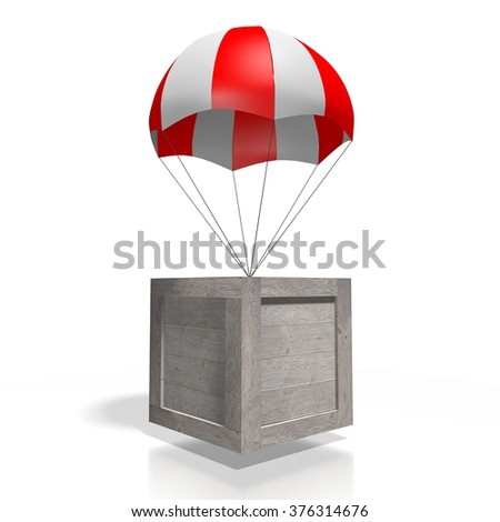 3D wooden box/package on parachute - great for topics like freight transportation, delivery etc. - stock photo
