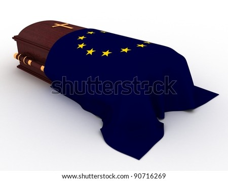 3D Wooden coffin from mahogany, with the flag of europe and christian cross - stock photo
