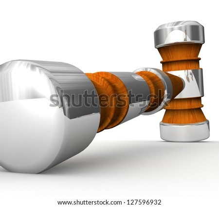 3D Wooden gavel - stock photo