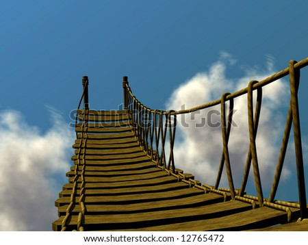 3d wooden staircase in the clouds