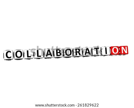3D Word Collaboration on white background - stock photo