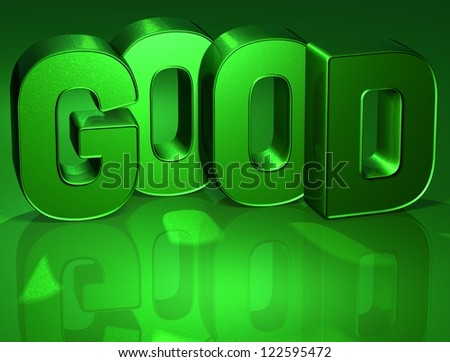 3D Word Good on green background (high resolution 3D image) - stock photo