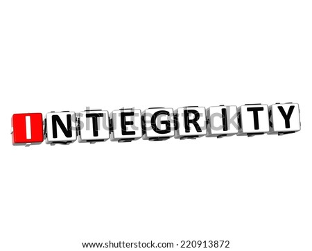 3D Word Integrity on white background - stock photo