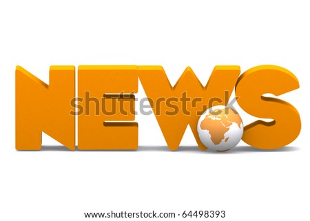 3d word NEWS with mini global - stock photo