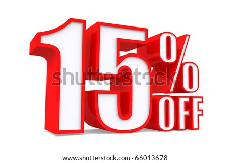 3d word 15 percent off on white isolated background - stock photo