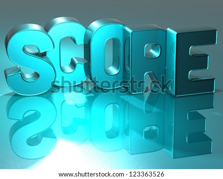 3D Word Score on blue background - stock photo