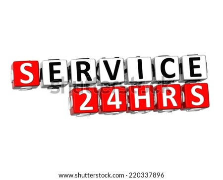 3D Word Service 24 hrs on white background - stock photo