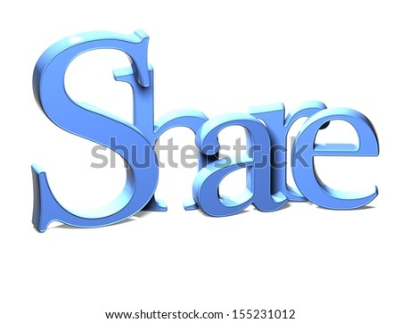 3D Word Share on white background