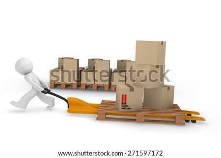 3d worker with a lifting cart carrying cardboard boxes