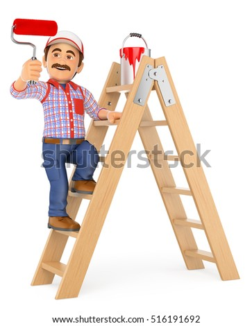 3d working people illustration. Painter working up a ladder with a roller brush. Isolated white background.