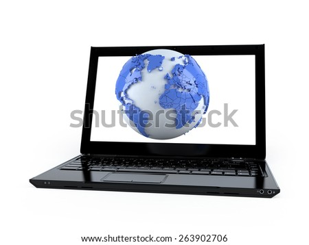 3D world globe map on a laptop computer isolated on white