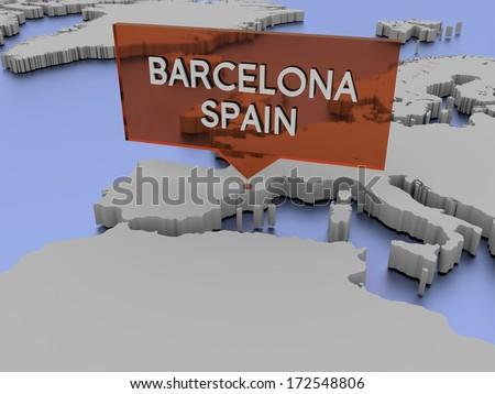 3d world map illustration - Barcelona, Spain - stock photo