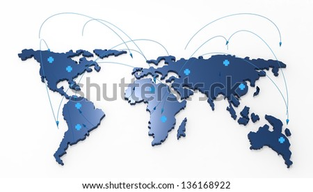 3d world map medical network as concept - stock photo