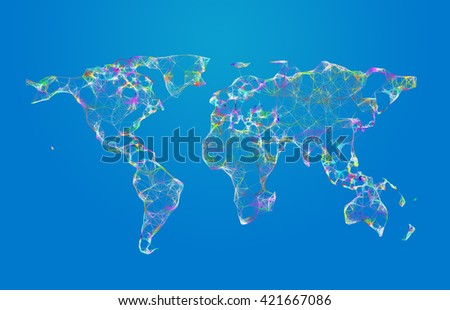 3D world map polygon lines on blue background