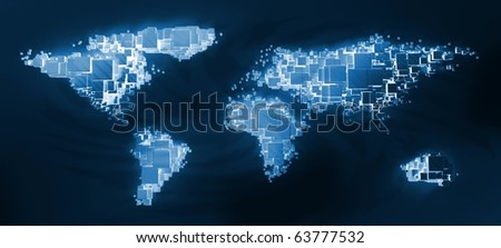 3d world map rendering out of blocks at night - stock photo