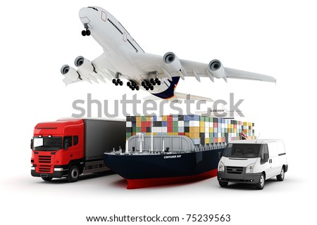3d world wide cargo transport concept - stock photo