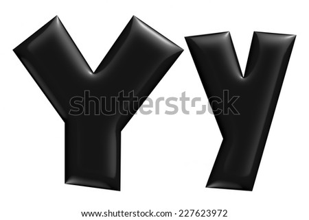 3D Y alphabet with small later in black on isolated white background. - stock photo