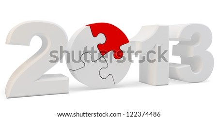 3d year 2013 and  puzzle  on white background