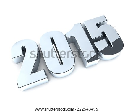 3D 2015 year chrome figures with shadow. - stock photo