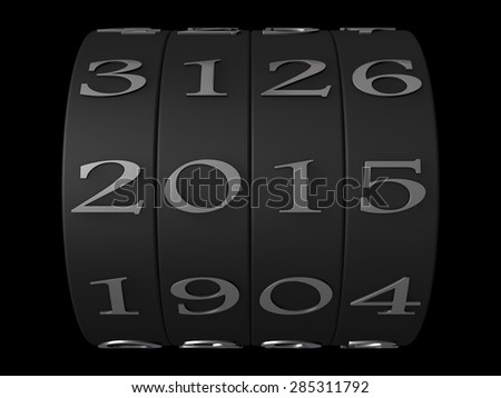 3d year counter mechanism - stock photo