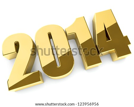 3D 2014 year golden figures with shadow. - stock photo
