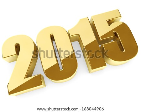 3D 2015 year golden figures with shadow. - stock photo