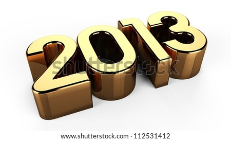 3D 2013 year golden text - stock photo