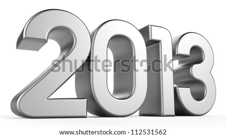 3D 2013 year silver text - stock photo