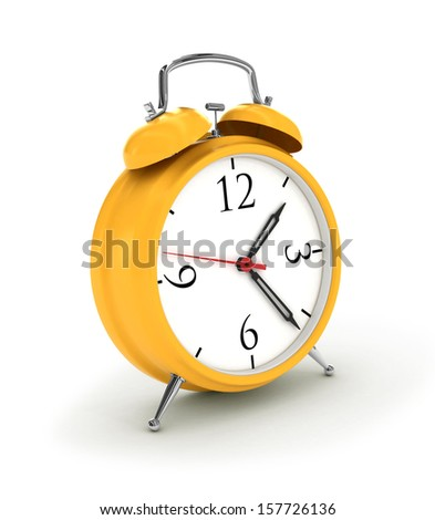 3d. Yellow alarm clock, isolated on the white - stock photo