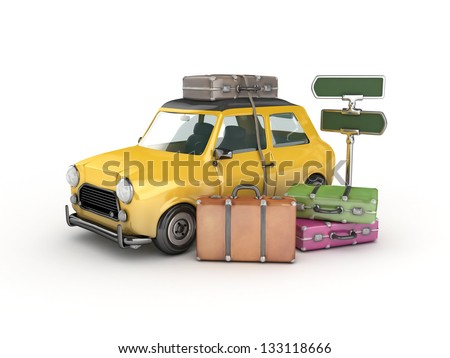 3d Yellow car and suitcases -travel concept - stock photo