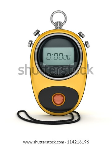3D Yellow Digital-chronometer isolated - stock photo
