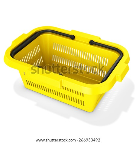 3d yellow empty shopping basket on white background - stock photo