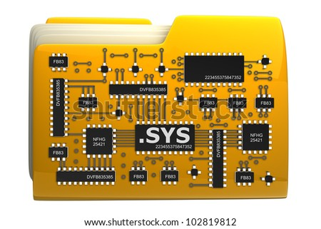 3D Yellow folder Computer microchip isolated on white background High resolution - stock photo