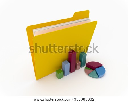 3D Yellow folder with graphics and chart on a white background