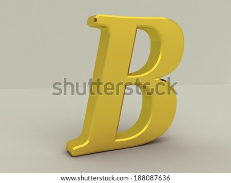 3d yellow letter b isolated white background