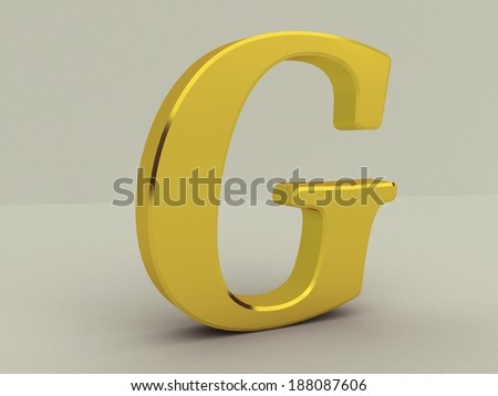 3d yellow letter g isolated white background  - stock photo