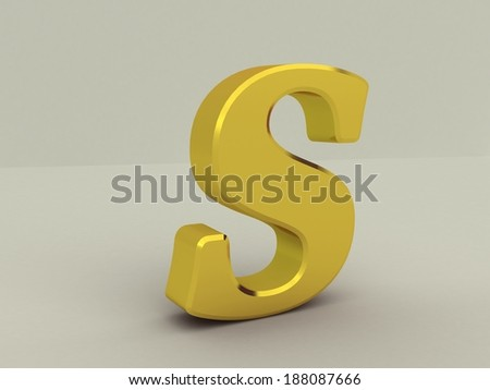 3d yellow letter s isolated white background  - stock photo