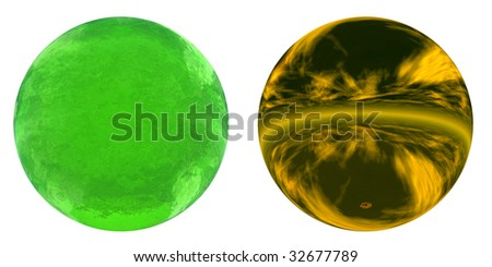 3d yellow metal and green liquid spheres set or collection isolated on white,ideal for 3D symbols, web buttons or logo designs - stock photo