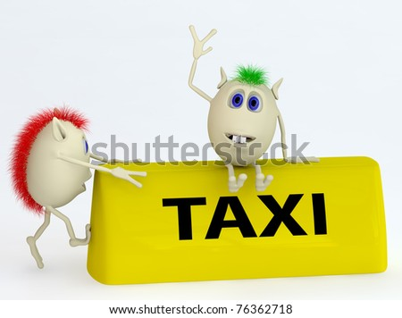 3d yellow model of the taxi symbol with puppets