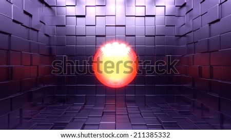 3d yellow red ball of light floating in the middle of a dark room made of purple cubes. 3d illustration. - stock photo