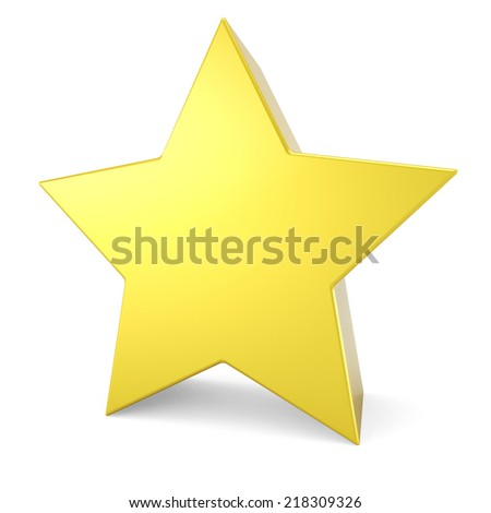 3D yellow star isolated on white background.