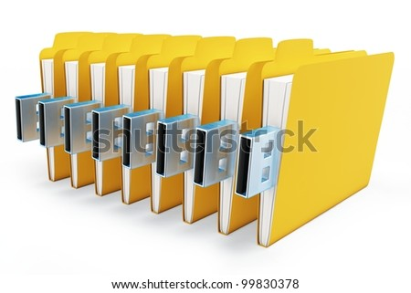 3d yellow usb folders concept on white background